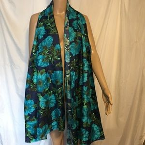 J. Crew Blue Floral Rectangle Neck Scarf Silky